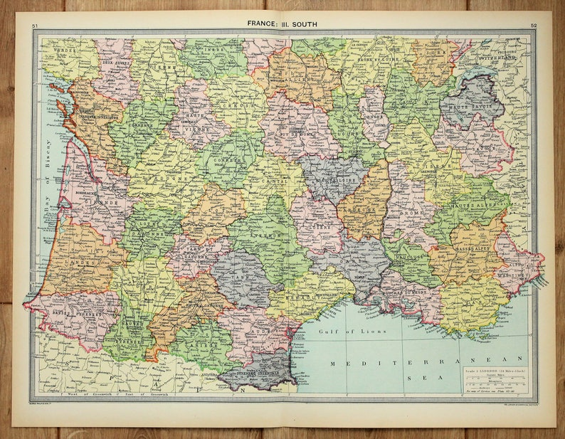 South Of France Map Detailed.Antique Map Southern France Philips C 1920 Lovely Pastel Etsy