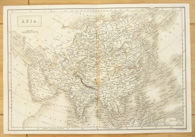 Map Of Asia India.C 1850 Antique Map Of Asia India China Siberia Continent Black And White Steel Engraving
