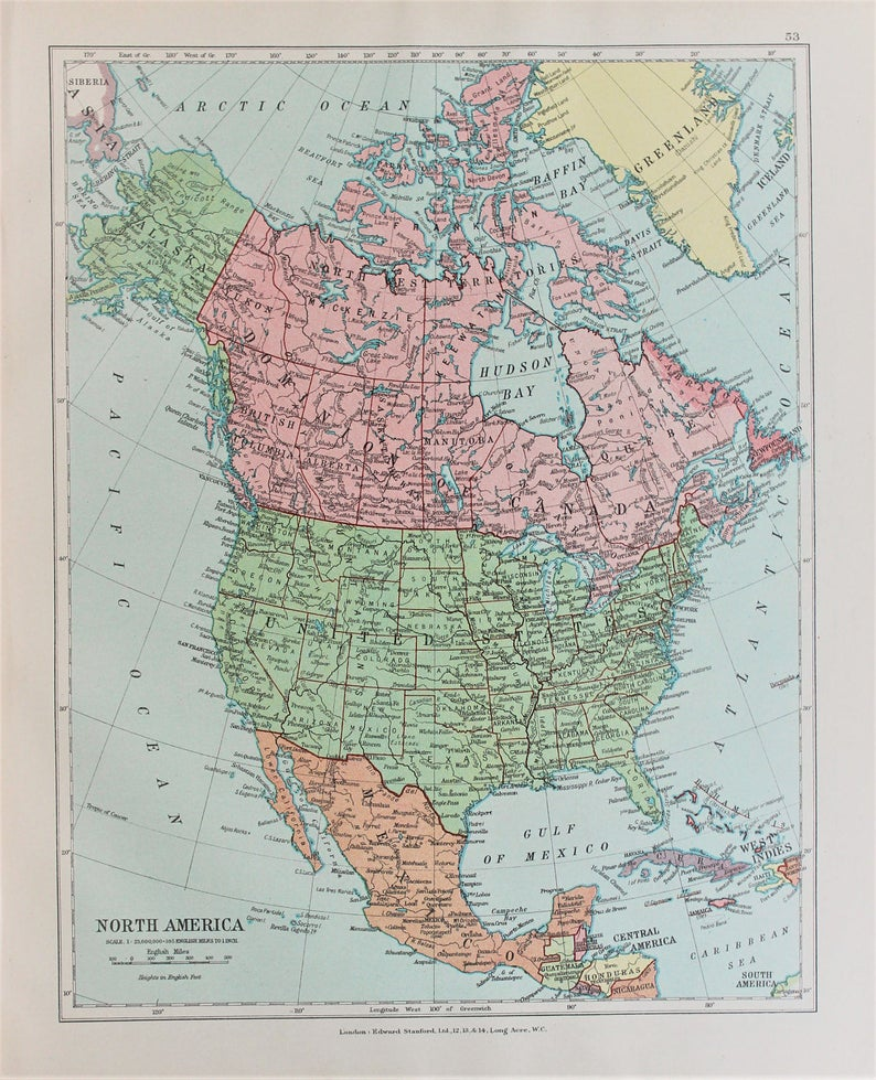 Map Of Canada Usa And Mexico.North America Canada Usa Mexico Antique 1920 Colour Map By Etsy