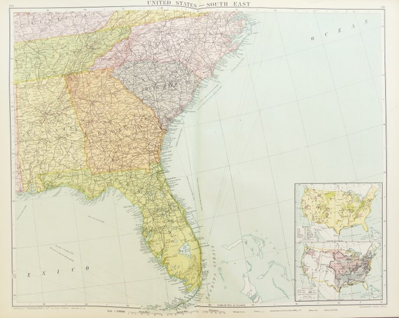 Huge Antique Map : South East United States of America, USA c. 1920. Lovely  Colours