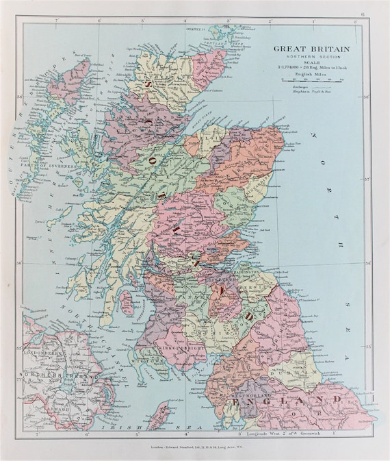 Map Of Northern England.Scotland Northern England Antique 1920 Colour Map By Edward Stanford Pastel Colours