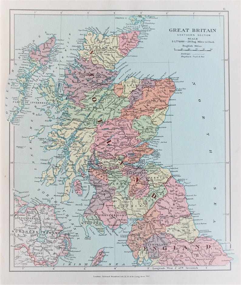 Map Of England To Colour.Scotland Northern England Antique 1920 Colour Map By Edward Stanford Pastel Colours
