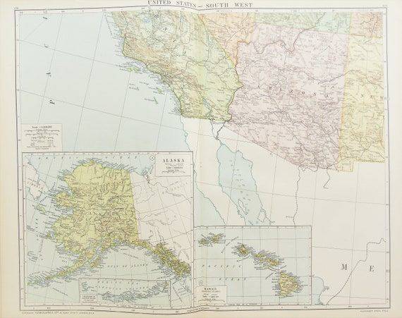 Huge Antique Map : South West United States of America, USA c. 1920. Lovely  Colours