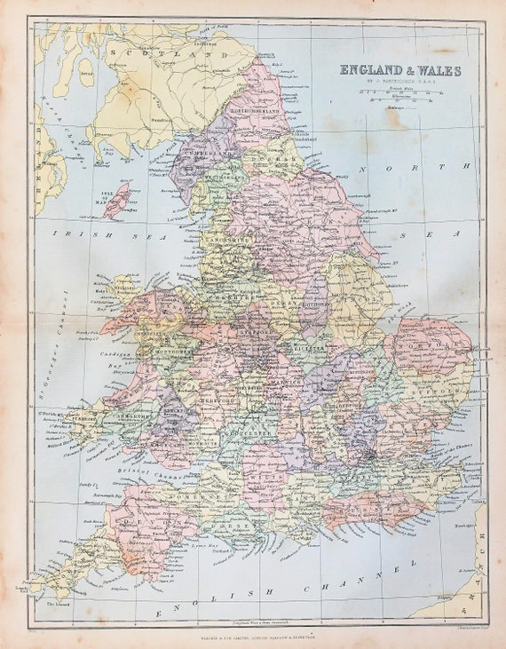 Map Of England To Colour.1890s Antique Map Of England And Wales Counties Published By Blackie Bartholomew Lovely Pastel Colours