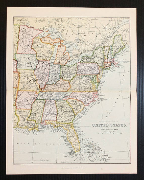 Eastern USA, United States of America, Antique 1880 Colour Map by  on us map 1865, us map 1890, us map 1860, us map 1920, us map 1820, us map google earth, us map 1900, us map 1870, us map points of interest, us map 1850, us map 1910, us map 8.5 x 11, us map 1840, us map 13 colonies, us map 1790, us map mo, us map 1830, us map oceans, us map 1800, us map by population,