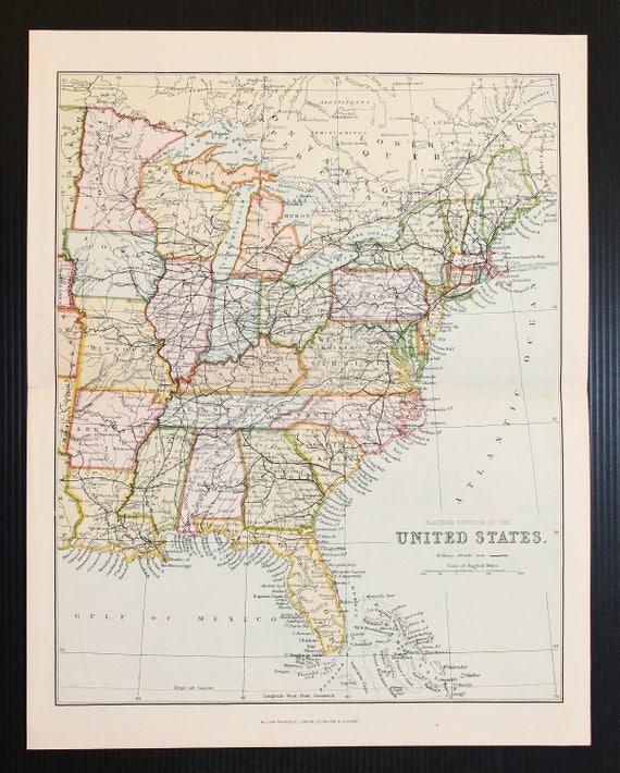 Im Osten Der Usa Vereinigte Staaten Von Amerika Antik 1880 Etsy