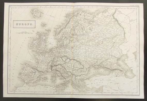c.1850 Antique Map of Europe, Continent, Black and White Steel Engraving