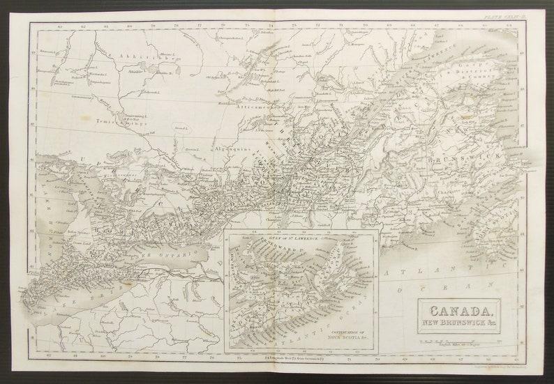 Map Of Canada 1850.C 1850 Antique Map Of Canada Nova Scotia New Brunswick Quebec Ontario Etc Black And White Steel Engraving