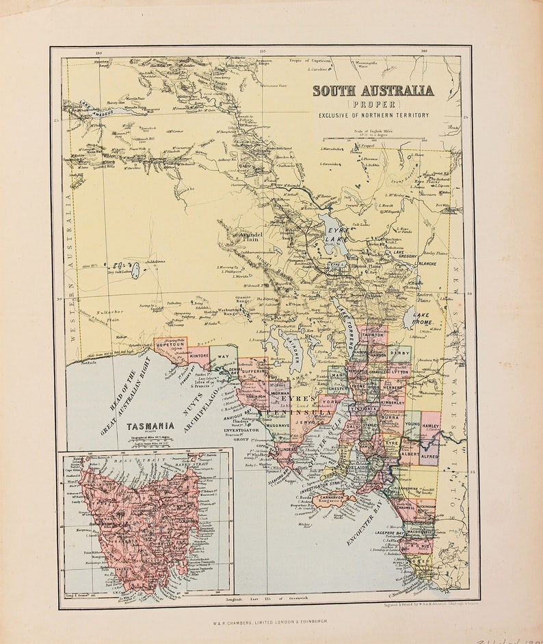 Map Australia Tasmania.1880 Antique Map South Australia Tasmania Districts Published By Johnston Chambers Lovely Pastel Colours