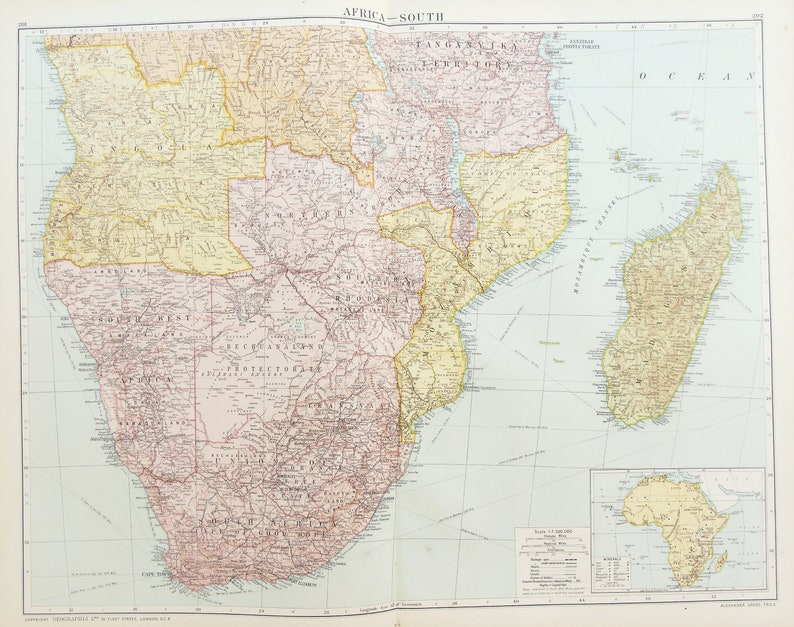 Map Of Africa Madagascar.Huge Antique Map Southern Africa South Africa Madagascar C 1920 Lovely Colours