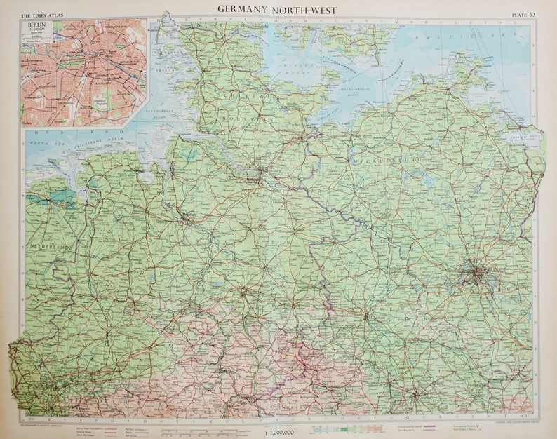 Map Of Germany During Cold War.Vintage Map Of North West Germany Berlin 1950s Cold War Era Lovely Pastel Colours 63