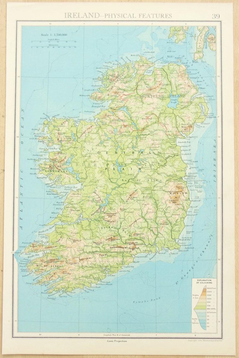 Physical Map Of Ireland.1930s Vintage Map Ireland Physical Map Published By Bartholomew Lovely Colours