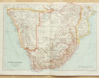 South Africa, Namibia, Bechuanaland, Rhodesia c. 1910 Antique Folding Colour Map