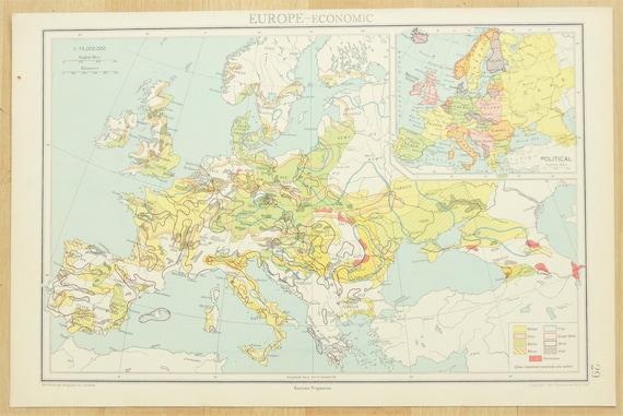 1930s Map Of Europe.1930s Vintage Map Europe European Economic Map Published Etsy