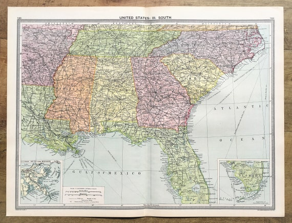 Antique Map : South East USA, Florida, United States of America, Philips c.  1920. Lovely Pastel Colours