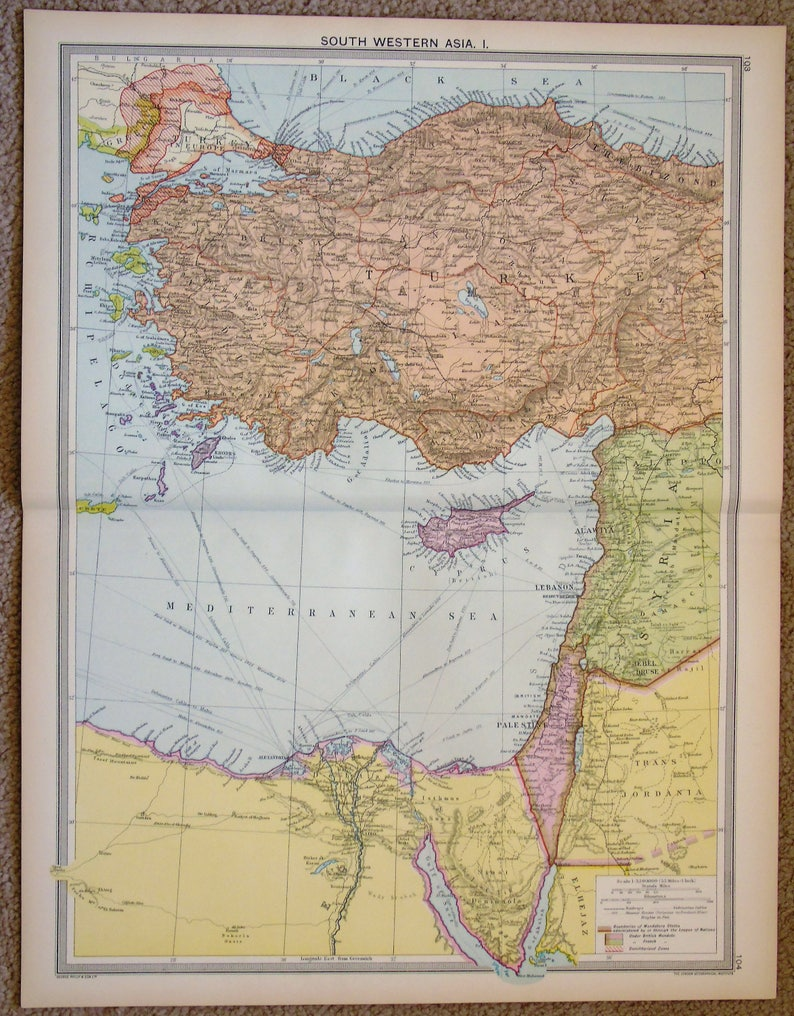 Antique Map : South West Asia Middle East Turkey Syria | Etsy