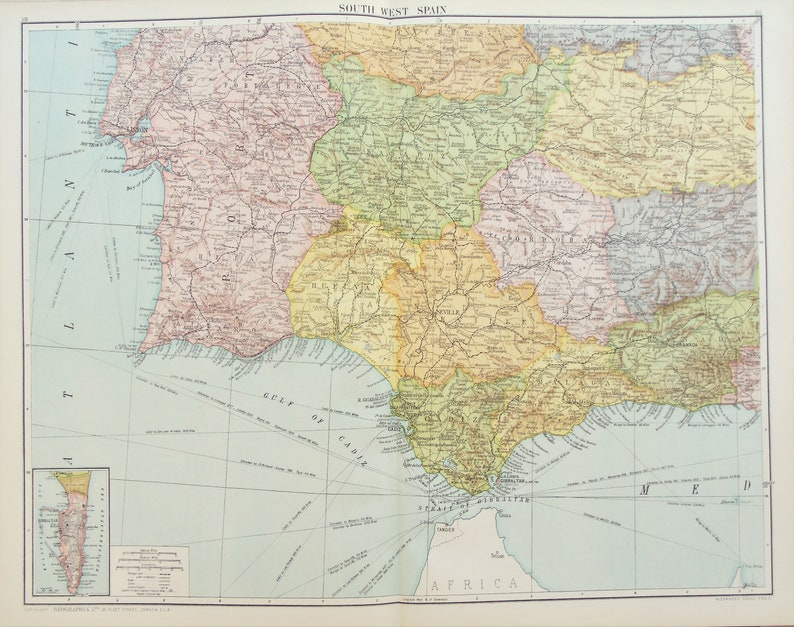 Map South Of Spain.Huge Antique Map South West Spain Portugal Iberia C 1920 Lovely Colours