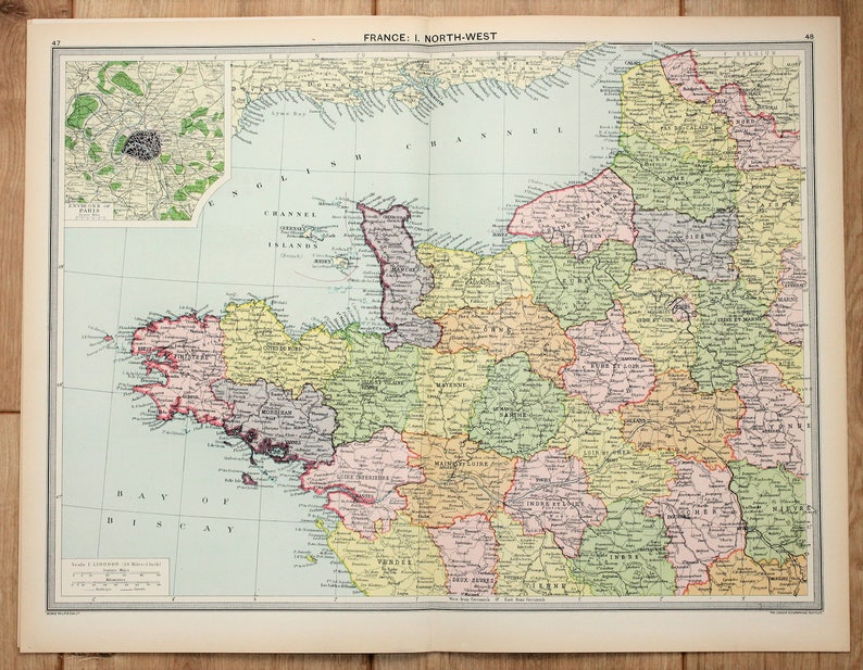 Map Of North West France.Antique Map North West France Philips C 1920 Lovely Etsy