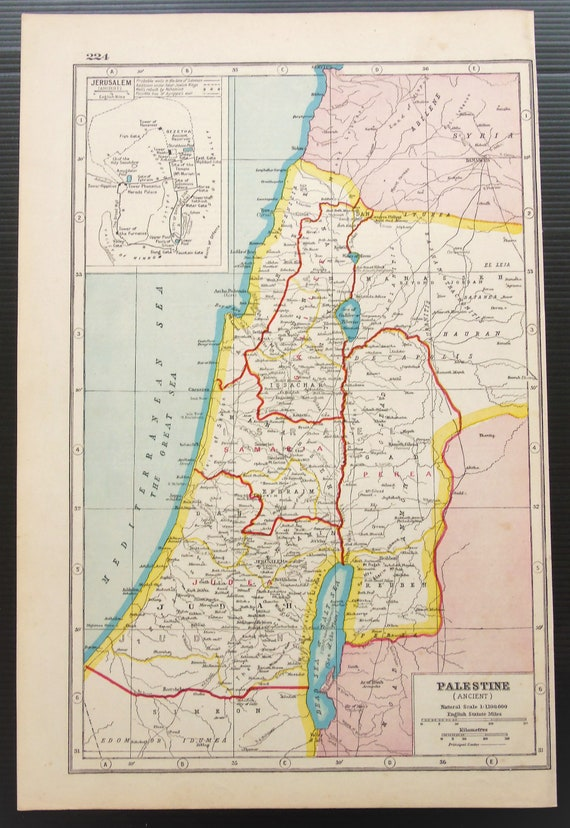c 1920 Antique Map of Ancient Palestine, Jerusalem, Israel, Middle East,  Published by Harmsworth  Wall Hanging, Home Decor