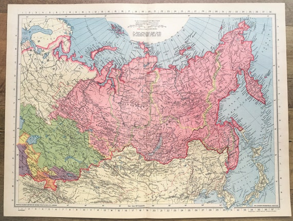 1945 Vintage Wartime Map : Northern Asia, Russia, Siberia, Philips. Lovely  Pastel Colours