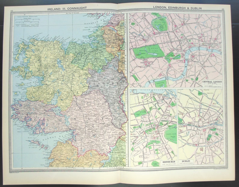 Map Of The West Of Ireland.Antique Map North West Ireland Connaught London Edinburgh Dublin City Plans Philips C 1920 Lovely Pastel Colours
