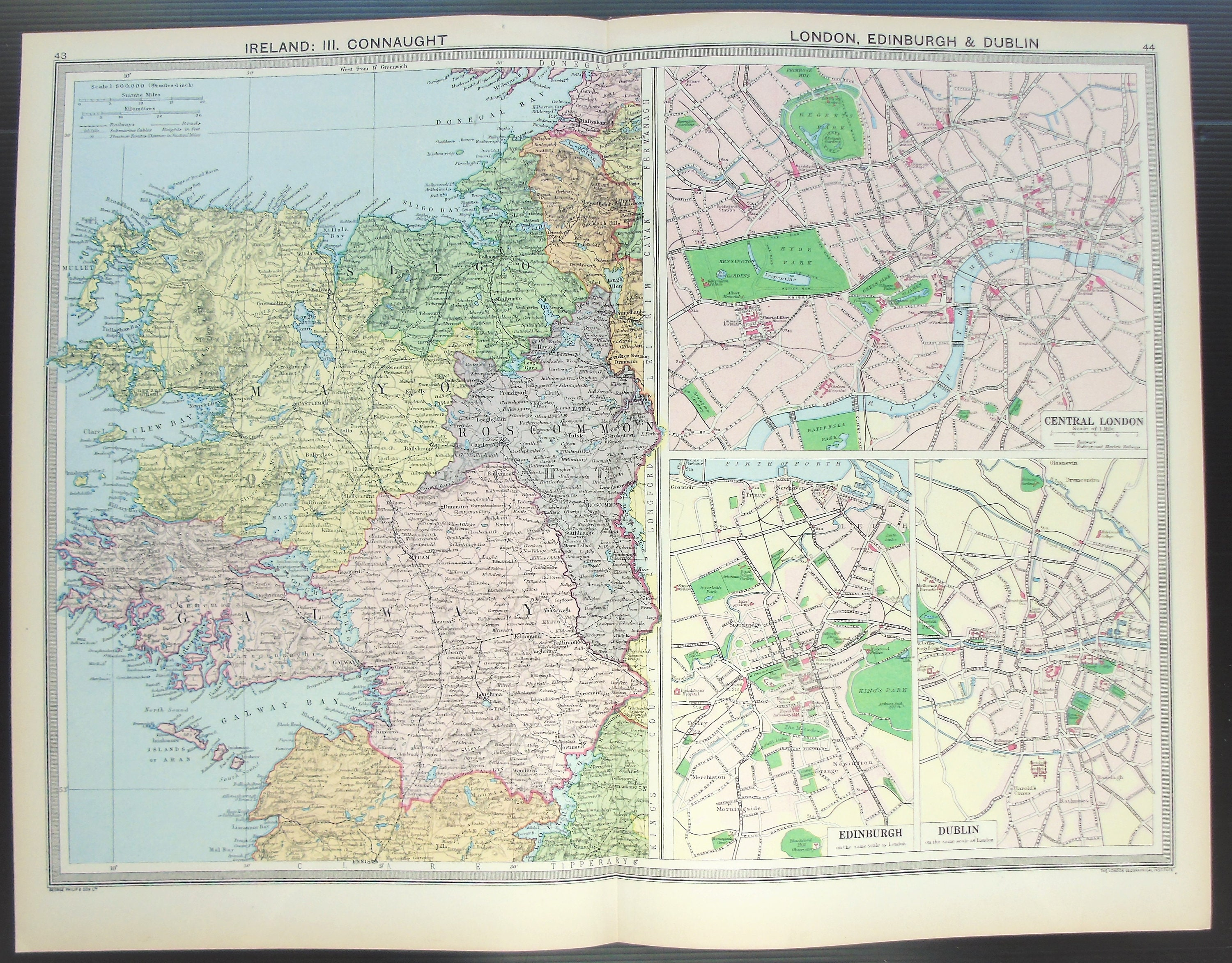 Antique Map North West Ireland Connaught London Etsy