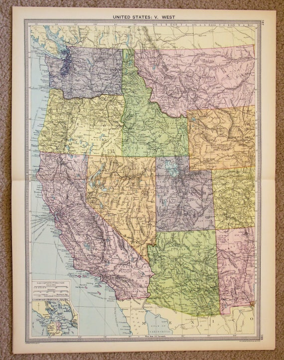 Antique Map : Western USA United States of America Philips | Etsy
