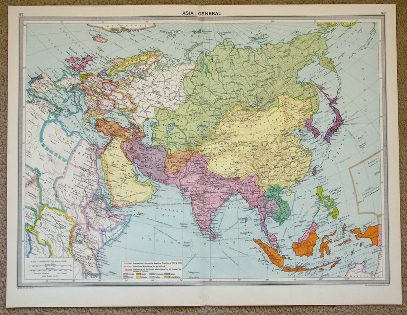 Asia Map Siberia.Antique Map Asia Russia Siberia China India Philips C Etsy