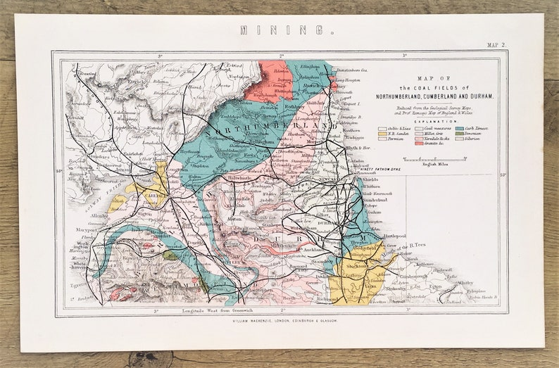 Map Of Northern England.1880s Antique Map Geological Map Of Northern England Railway Lines Published By Mackenzie Lovely Pastel Colours