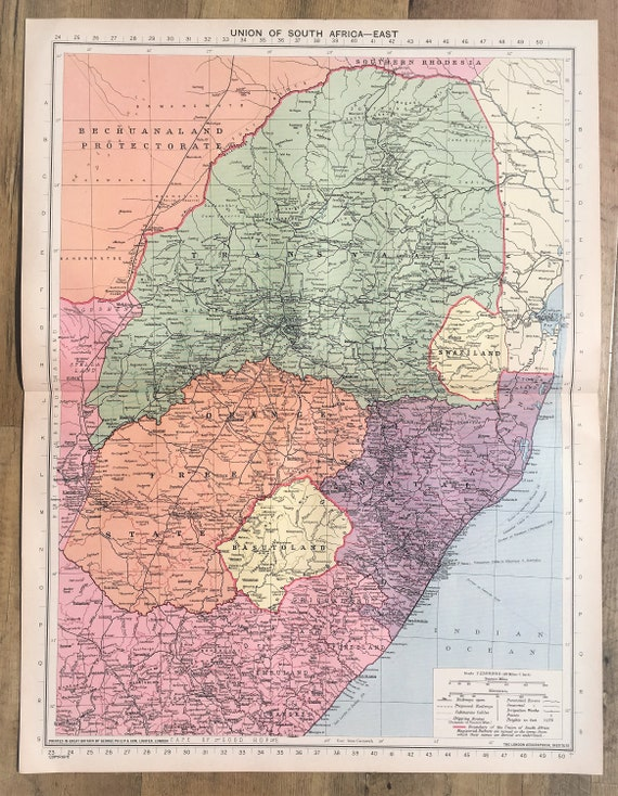 Map Of Africa 1940.1940 Vintage Wartime Map South Africa Transvaal Natal Orange Free State Philips Lovely Pastel Colours