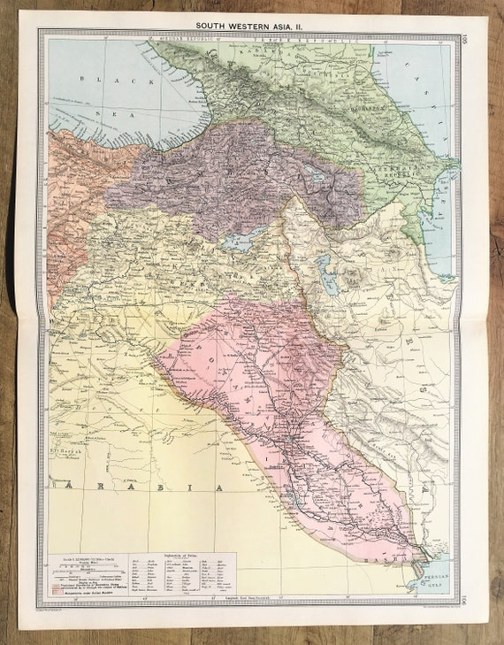 Antique Map : South West Asia, Middle East, Saudi Arabia, Persia, Iran,  Turkey, Syria, Iraq, Philips c. 1920. Lovely Pastel Colours