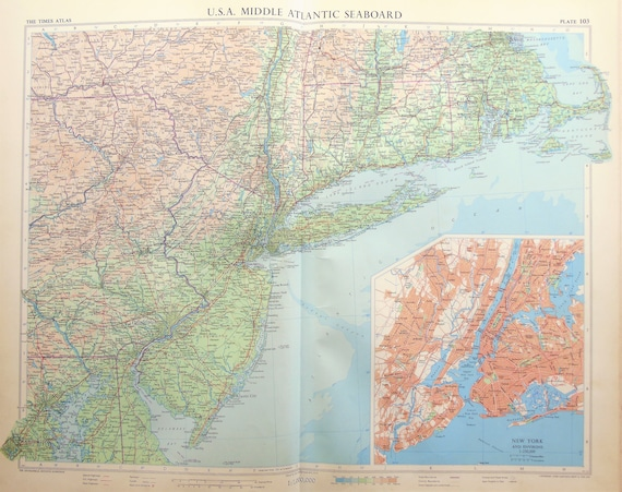 Vintage Map of USA, North East Seaboard, New England, New York, 1950s Cold  War Era. Lovely Pastel Colours (103)