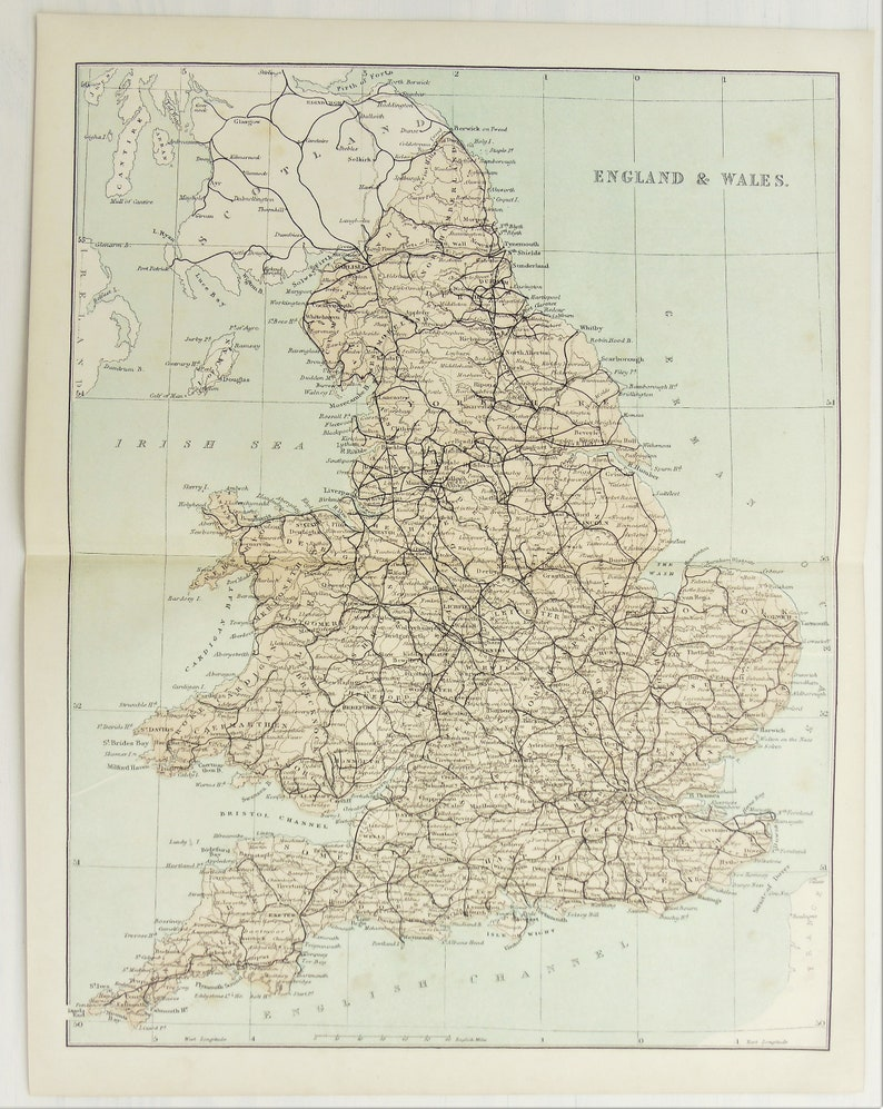 Map Of England To Colour.England Wales Antique Folding Colour Map Railways 1860s Victorian Map By Virtue Pastel Colours