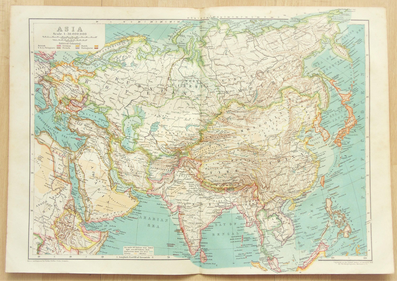 Asia Continent Russia China Siberia C 1910 Antique Etsy