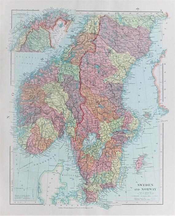 Karte Norwegen Schweden.Skandinavien Schweden Und Norwegen Antik 1920 Farbe Karte Von Edward Stanford Pastellfarben