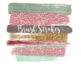 Glam PNG Overlays String Lights Gold Blue Pink Glitter Brush Stroke Clip Art Bokeh Overlays Gold Glam Paint Strokes Clipart Washi Tape