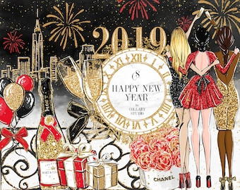 new year clip art fashion illustration party clipart celebration clipart birthday clipart gold glitter planner stickers champagne 2019