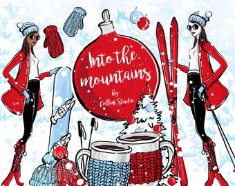 Planner Clipart Ski trip Planner stickers cover,getaway clipart Winter Trip ClipART winter Hand Draw Clipart scrapbooking snow Cabin