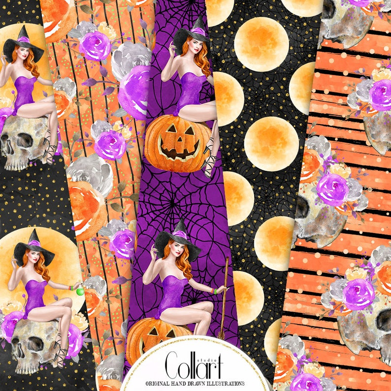 halloween seamless patterns Witch digital paper Halloween paper pack skull papers pumpkin Fashion paper pack autumn digital paper