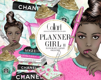 Planner Girl Clipart, African American Girl Hand Drawn Clipart, Watercolor Clip Art Set, Fashion Clipart, Planner Supplies, Illustration