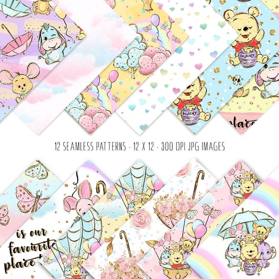 Bear digital paper birthday party background planner stickers surface patterns baby digital paper baby animals paper pack animals