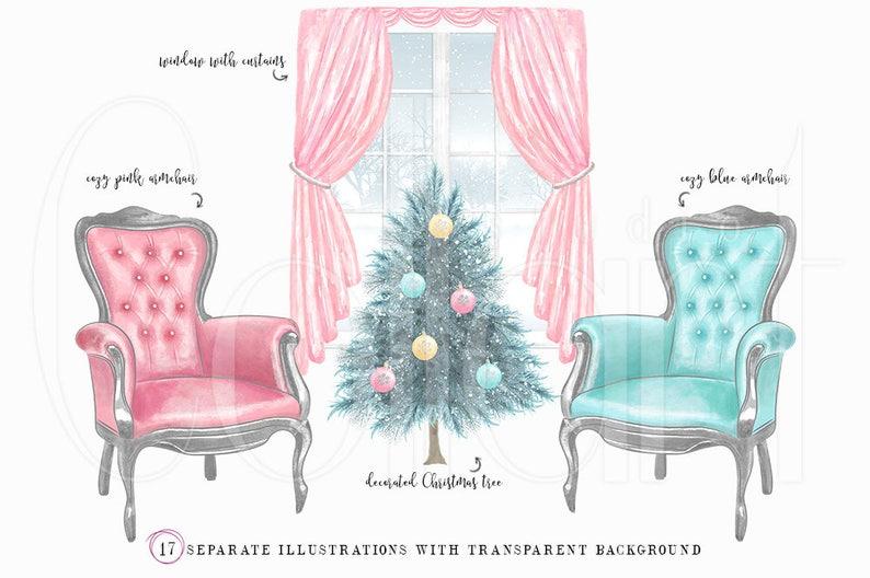 Christmas clipart pink christmas christmas planner stickers christmas planner clipart watercolor christmas clipart