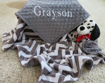 845dd1738d Baby Blanket Personalized Baby Boy Blanket Topaz Charcoal