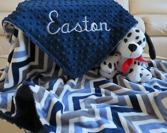 Baby Boy, Baby Blanket, Baby Blanket Personalized, Navy Blue Baby Boy Blanket, Baby Gift, Baby Shower Gift, Minky Baby Blankets