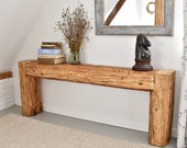 Reclaimed beam console table old beams rustic country style designer unique barn wood side table 150 cm bronze beige natural wood