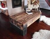Handmade Reclaimed Wood & Steel Coffee Table Vintage Rustic Industrial  loft end table brown old wood old beams  barn wood coffee table