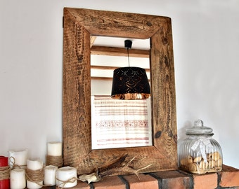 Mirror with frame from old wood French Country Rustic brown farmhouse loft  wall decor cottage chic brown