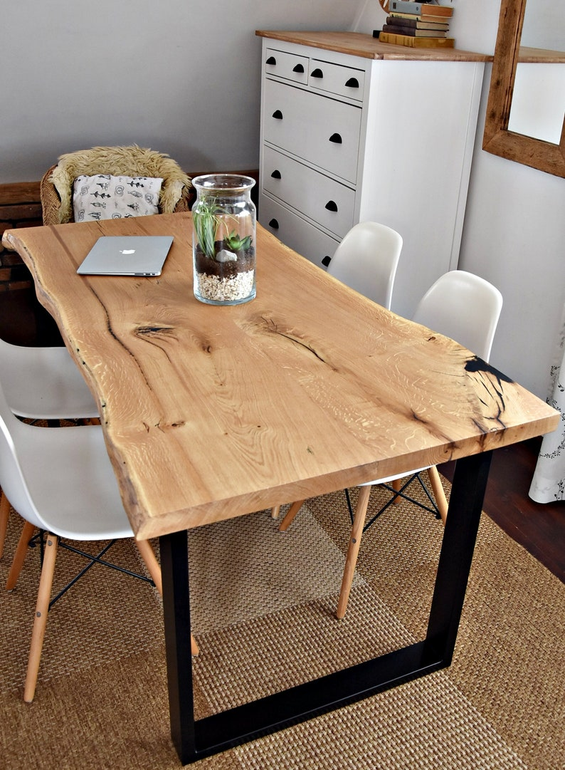 Handcrafted 6 Seater Modern Oak Wood Black Steel Dining Table Industrial Kitchen Table Solid Wood Live Waney Edge Table Ash An Epoxy Resin