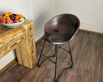 Tractor Stool Cast Iron Seat Bar Old Rustic Industrial Vintage Style Chair Pew
