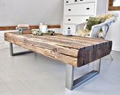 Rustic Coffee Table - Beam Coffee Table - Modern Industrial Coffee Table - Reclaimed Wood & Steel Table - Timber Table  barn wood table